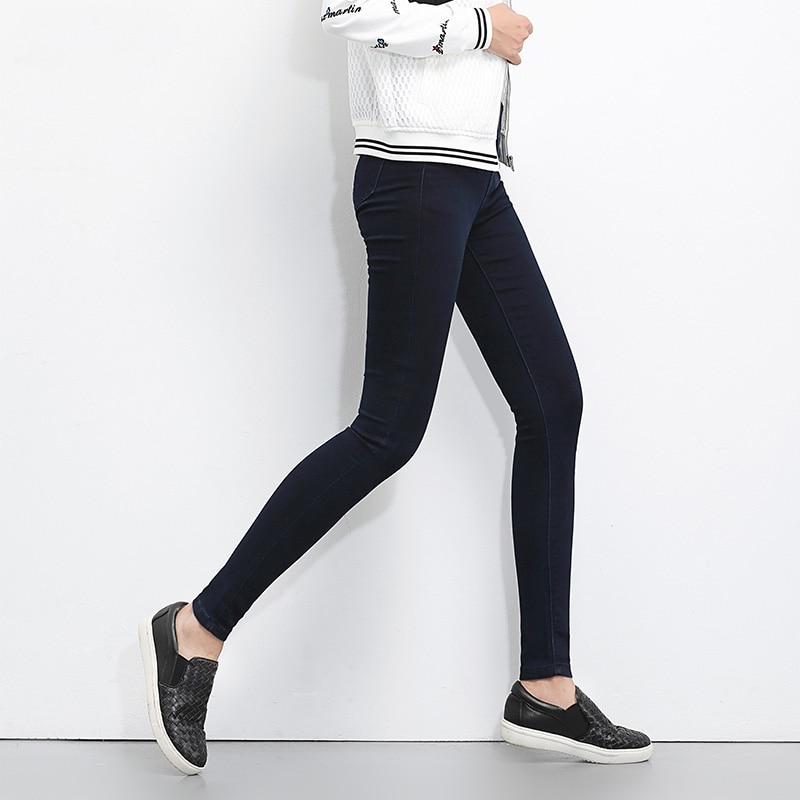 LEIJIJEANS 2020 Plus Size button fly women jeans High Waist black pants women high elastic Skinny pants Stretchy Women trousers 2