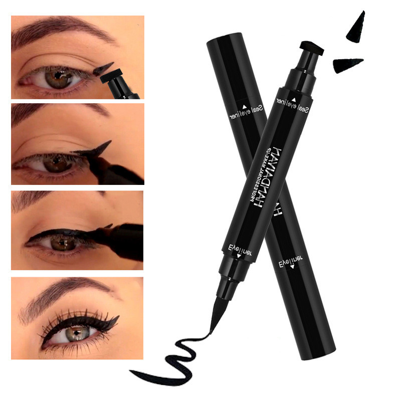 Handaiyan Brand Black Double-headed Eyeliner Pencil With Miss Stamp Seal Maquiagem Waterproof Wing Eye Liner Cosmetics Beauty Essentials