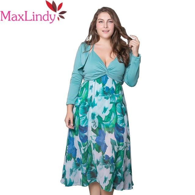 Maxlindy Women Summer New Floral Printed Plus Size Dress Chiffon