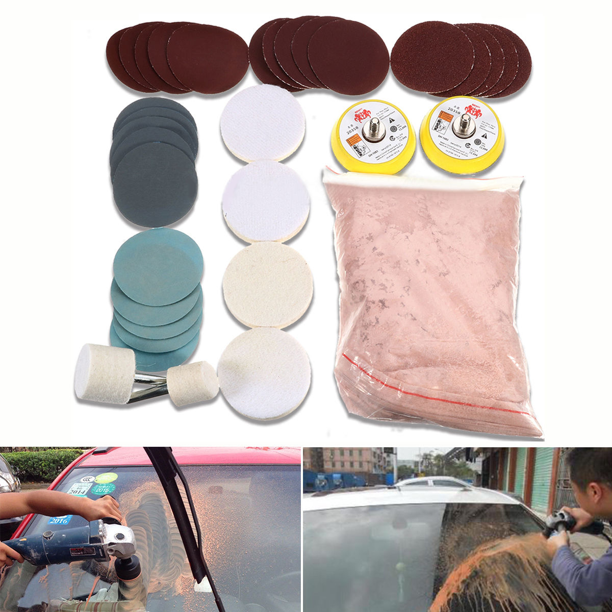 34Pcs Deep Scratch Remove Glass Polishing Kit 8Oz Cerium Oxide Sanding Disc Wool Polishing Pads Felt Polishing Wheel DIY Tools