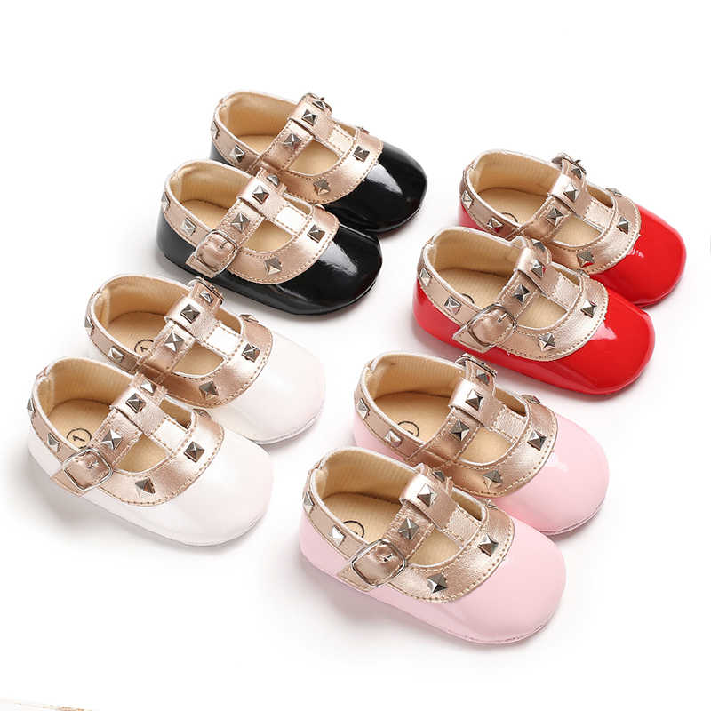 Newborn Girls 0-18M First Walkers PU Leather Shoes Baby Rivets T-bar Soft Soled Baby Shoes Hook Loop Pink Princess Baby Shoes