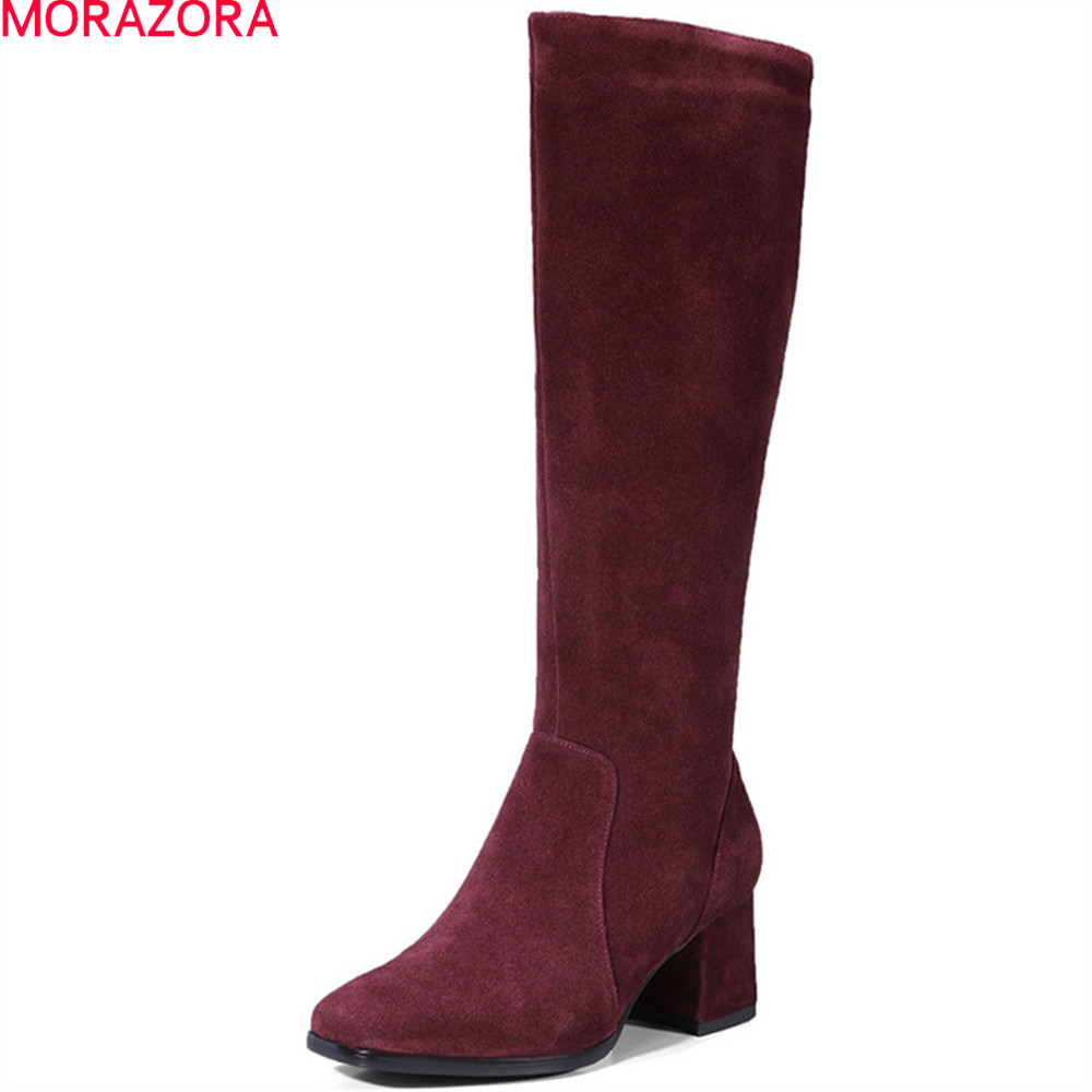 MORAZORA 2020 fashion women boots square toe zipper cow suede boots square heel leather knee high boots black wine red