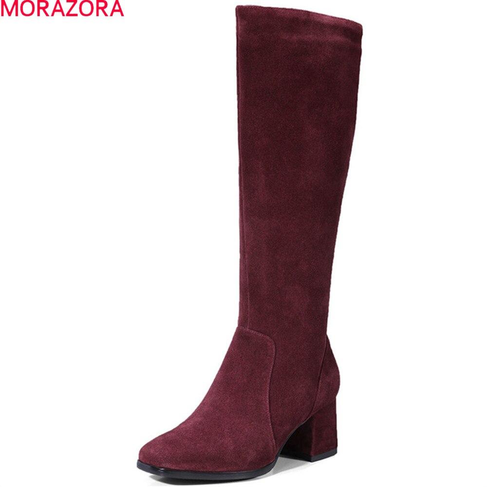 MORAZORA 2020 moda kobiety buty kwadratowe toe zamek krowa zamszowe buty kwadratowy obcas skórzane buty do kolan czarny wino czerwone w Kozaki do kolan od Buty na  Grupa 1