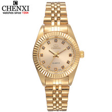 CHENXI Brand Top Luxury Ladies Gold Watch Women Golden Clock Female Women Dress Rhinestone Quartz Waterproof Watches Feminine(China)