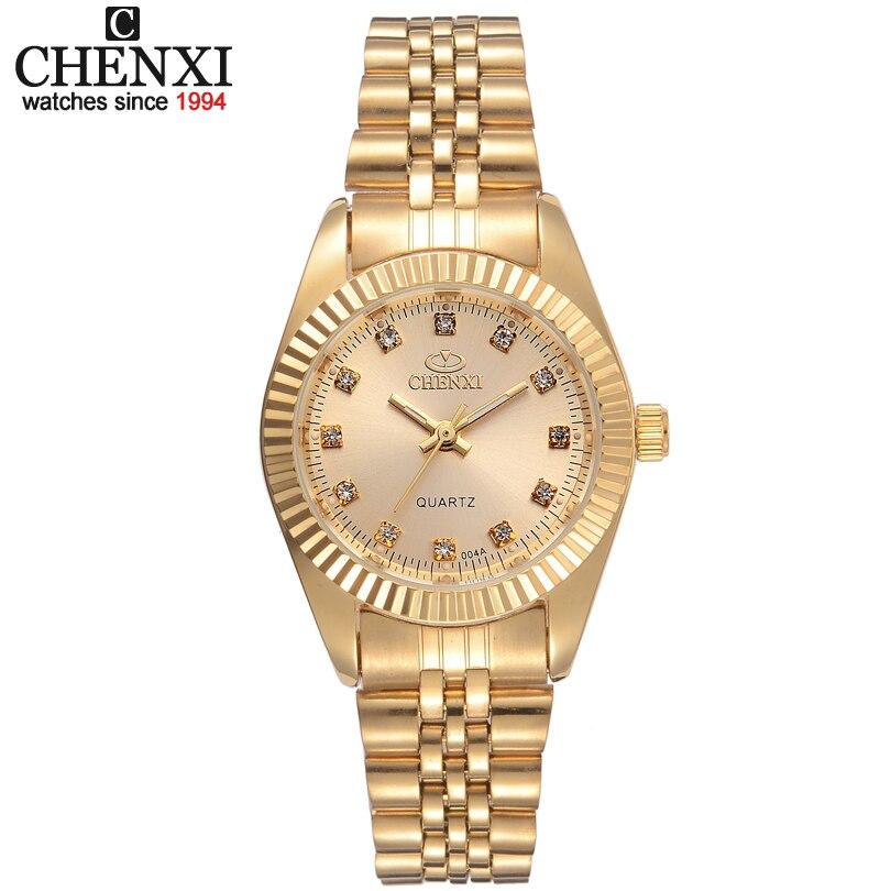 CHENXI Marca Top Senhoras de Luxo Relógio de Ouro Mulheres de Ouro Relógio Feminino Mulheres Vestido de Strass relógio de Quartzo Relógios À Prova D' Água Feminino
