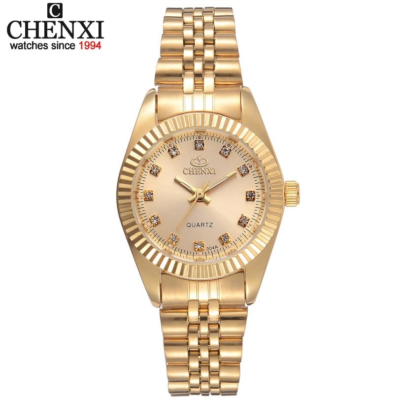 Reloj de oro de lujo de marca CHENXI para mujer reloj dorado vestido de mujer de cuarzo de diamantes de imitación relojes impermeables femeninos