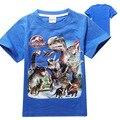 T-shirt parque jurásico dinosaurio de los muchachos 2017 niños del verano traje camisetas ropa de los cabritos camiseta ropa de marca para niños