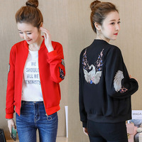 Women Bomber Jacket Floral Embroidery Casual Slim Female Coat Color Blcok Streetwear Athleisure Jacket