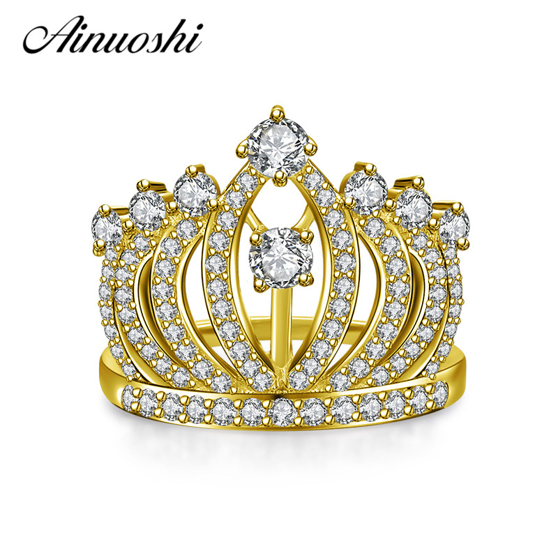 AINUOSHI 10 K sólido oro amarillo anillo de bodas de moda princesa corona banda señora brillante Anillos De Compromiso nupcial personalizada