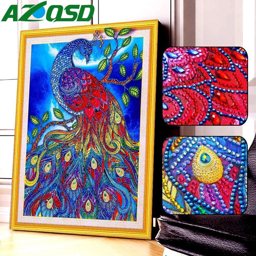 AZQSD Diamond Embroidery Animal Special Shape Cross Stitch Mosaic Kits Rhinestone Picture 5D Painting Peacock