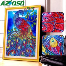 AZQSD Diamond Embroidery Animal Special Shape Cross Stitch Mosaic Kits Rhinestone Picture 5D Painting Peacock