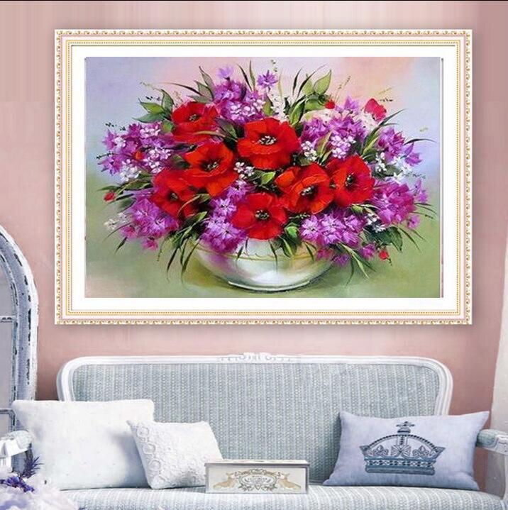 UzeQu 5D DIY Diamentowa malowanie Cross Stitch Red Flower Wazon - Sztuka, rękodzieło i szycie - Zdjęcie 2