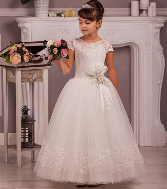 Flower Girl Dress Glitter for Wedding Ankle Length Pageant Princess Party Dresses Children Clothes Size 4-14 flower girl dress lace sequin v neckline pageant wedding 2017 summer princess party dresses children clothes size 4 14 sundress