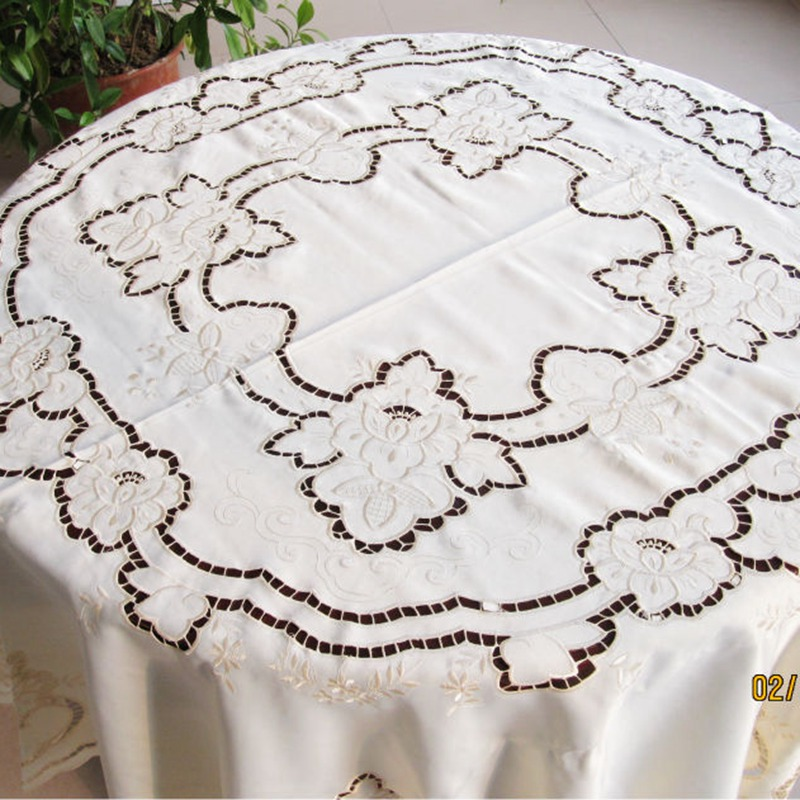 Aliexpress.com : Buy 175cm Round Tablecloth Cutworking Embroidered Tablecloth  68 Inches Round Table Cover From Reliable Round Table Cover Suppliers On  HOME ...