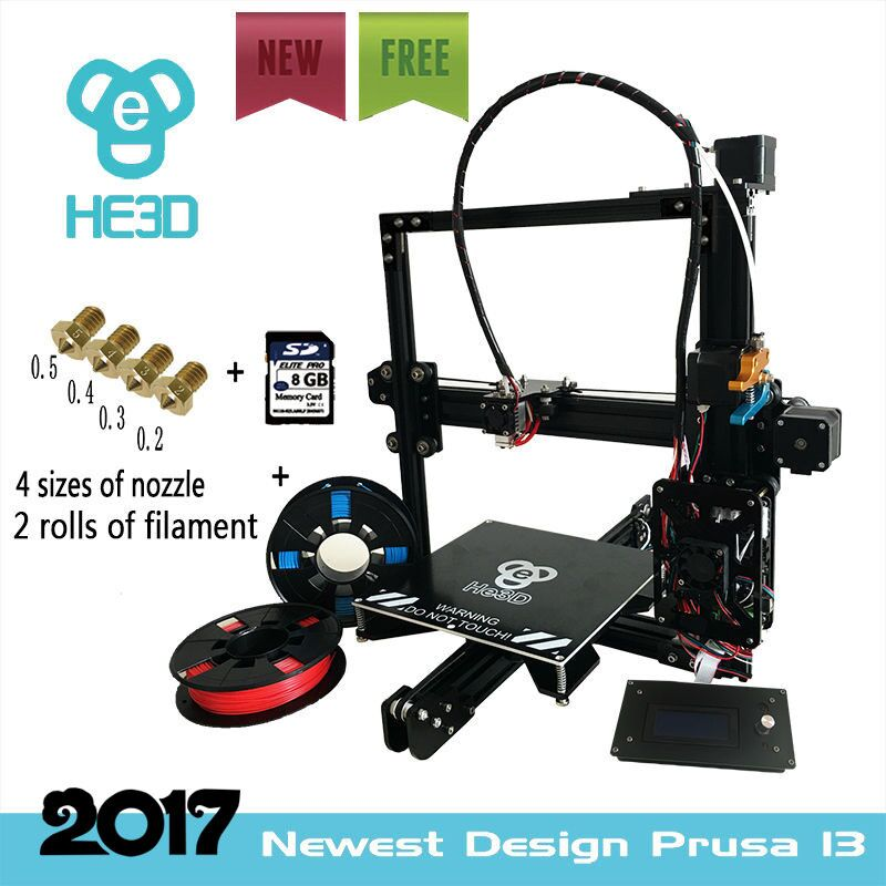 HE3D EI3 full metal extruder reprap diy 3D printer with auto level , fast heating bed to 110 degree, two rolls filament for gift ship from european warehouse flsun3d 3d printer auto leveling i3 3d printer kit heated bed two rolls filament sd card gift