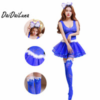 DaiDaiLuna Sexy Babydolls Women Polyester Fishnet Costumes Mesh Shirt Sexy Uniform With Headwear Stockings Erotic Lingerie