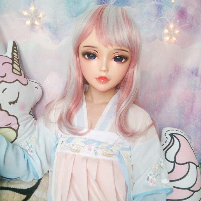 (Chan) женский сладкий девушка Смола половина головы кигуруми BJD глаза Crossdress косплей японского аниме ролевые маски Лолиты с глазами и париком