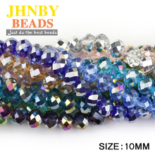 JHNBY Faceted Austrian crystal beads ball 10x8mm 20pcs Flat Round Rhinestone Loose for jewelry making women bracelets DIY