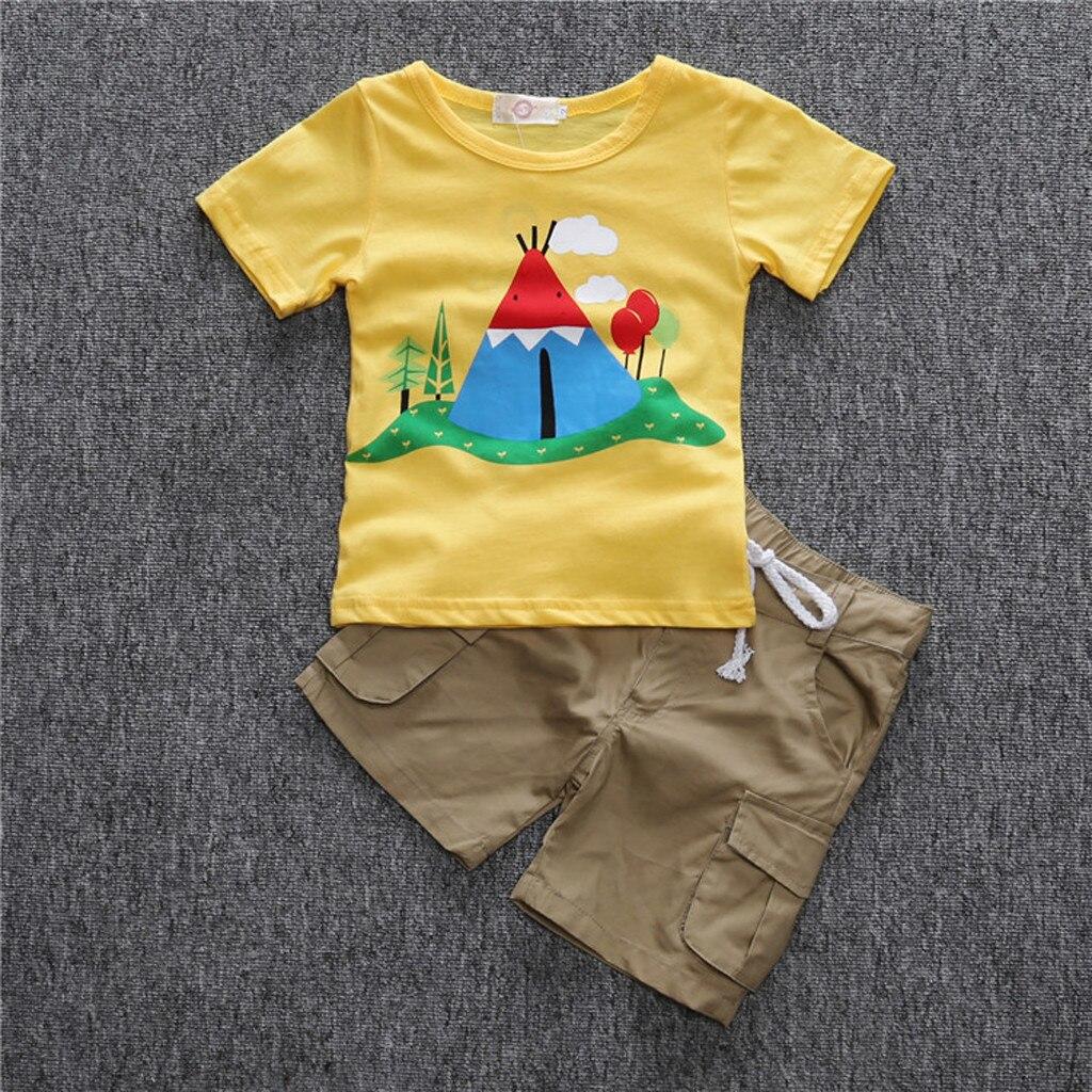 e7717676213da الصيف الأطفال الاطفال طفل الفتيان الكرتون تي شيرت مطبوع قمم + سروال تتسابق الملابس  مجموعة الأصفر