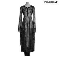 Gothic Slim Black Long Sleeve Floor Length Halloween Christmas Party Dress Cobweb Lace Priestess Hooded dress PUNK RAVE Y 732