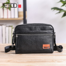 AETOO Men's leather shoulder bag, horizontal casual oblique cross bag, fashion trend head cowhide male bag