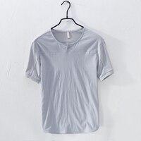 New arrival short sleeved summer linen tshirt men brand fashion round neck men t shirt solid gray t shirt male camiseta 3XL