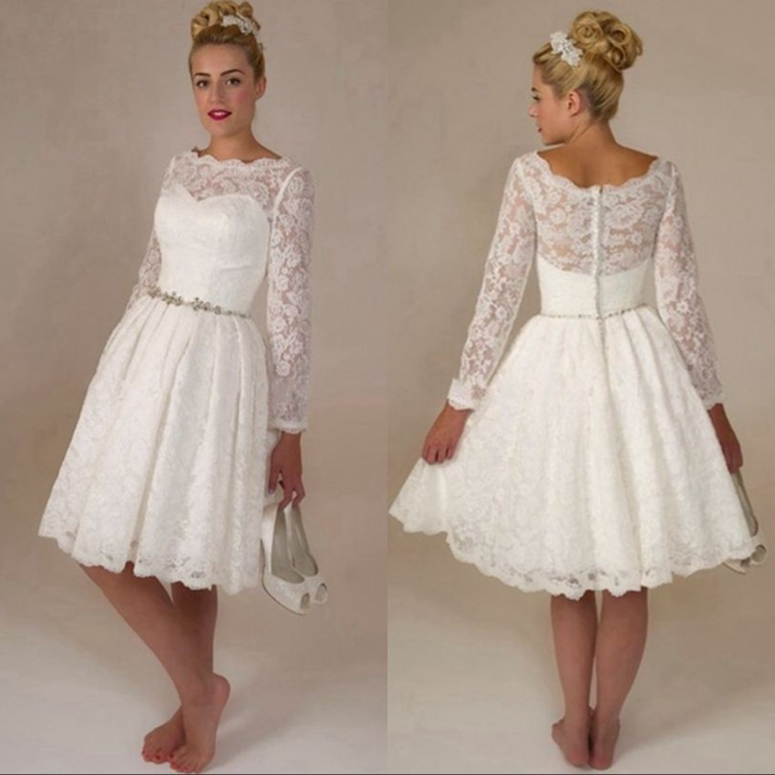 White Long Sleeve Short Lace Wedding Dress