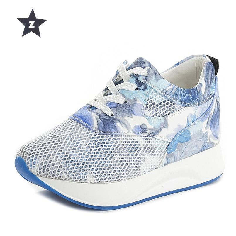 Z Plate-Forme Chaussures Coins Augmenté interne Haut Chaussures Femmes Maille creux Fleur Dentelle-UP Chaussures de Marche Femme sneakers