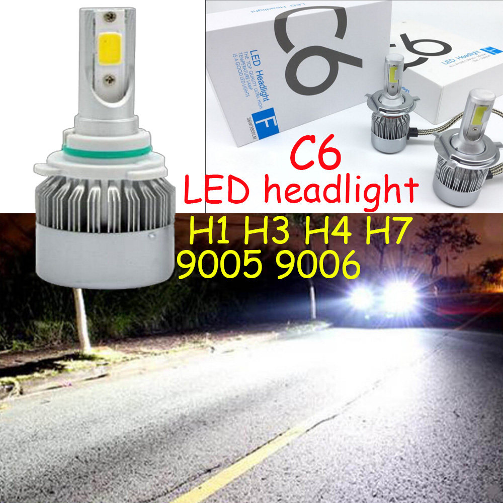 car accessories,C6 Car LED Headlight,helmet,H1 H3 H7 H11 H4 H13 9004 9005 9006 9007 880 6000K Car Bulbs Headlamp,motorcycle