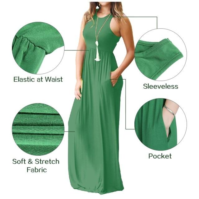 e065831ca4b Summer Casual Pocket Long Dresses