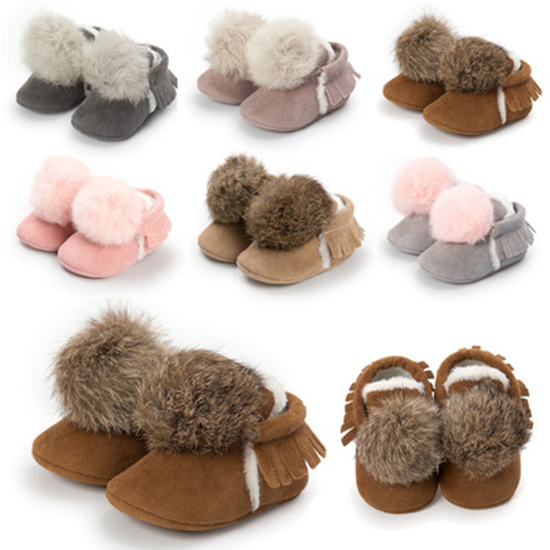 Winter Lovely Cute Infant Baby Girl Keep Warm Shoes Toddler Pre-walkers Princess Hair Ball Crib Shoes Bebe Shoes First Walkers