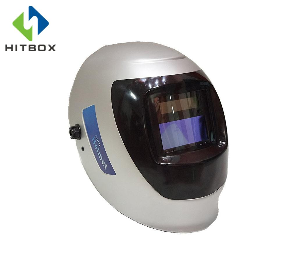 HITBOX Welding Protection Helmet Auto Darkening Welding Helmet Red And Silver Mask Cap Goggles Tool Mask Helmets newest welding glass anti collision version welding eye protection glass welding helmet pc welding mask