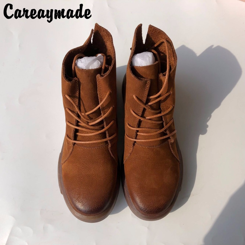 Careaymade-autumn and winter new flat Martin boots, women's Retro Genuine Leather short boots, thick bottom motorcycle boots 2017 autumn and winter new plus velvet thick women s boots soft bottom comfortable breathable mother shoes wild leather