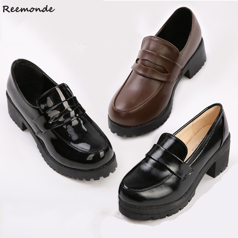 Rejuvenated Japanese School Style Student Shoes Lolita Leather Black PU Shoes Boots Party For Adult Woman