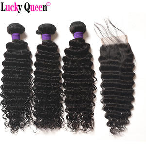 Deep-Wave-Bundles No-Sheds Lucky-Queen Brazilian Hair-Products Closure with 4pcs/Lot