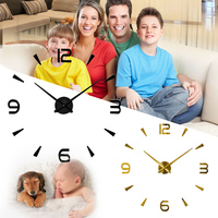 Large 3D Mirror Surface Clock Wall Clock Sticker Home Office Room Decor