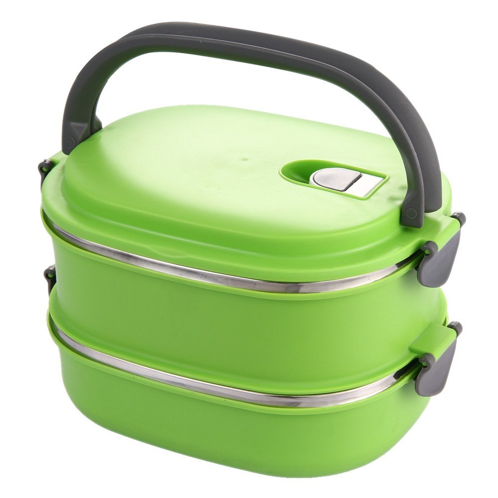 1-2 Layers Stainless Steel Food Storage Container School Student Children Portable Insulated Thermos Bento Lunch Boxs green Термос