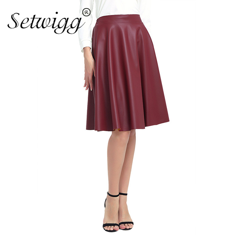 SETWIGG Autumn Synthetic Faux Leather Midi Skater Skirts Street Fashion Burgundy PU Leather Knee Length Flare Punk Skirt SG02
