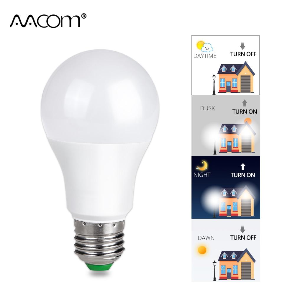 10W 15W E27 Dusk to Dawn Light Bulb Smart Sensor 85-265V Lampada Auto ON/OFF Globe Ampoule B22 Bulbs Gate Hallway Home Lighting цена