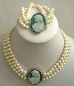 3Strand 7-8mm White Akoya Pearl Cameo Necklace Bracelet