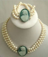 3Strand 7 8mm White Akoya Pearl Cameo Necklace Bracelet