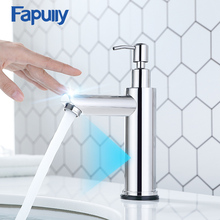 Fapully New Basin Faucet Brushed Nickel Smart Touch Sensor Bathroom Faucet With Soap Dispenser Touch Control Tap Sensor Mixer fapully smart touch control kitchen faucet brushed black sensitive mixer touch induction faucet pull down sink tap crane cp1051