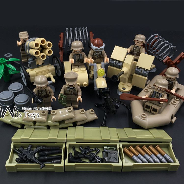 4 in 1 German Army World War 2 Military SWAT Soldier Weapon Gun navy seals Building Blocks Bricks Figures Boy Toy Gift Children military army world war soldiers compatible legoed city figures weapon building blocks diy bricks enlighten children toy for boy