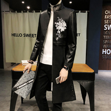 Męskie długie skórzane prochowce czarny z kapturem skórzane kurtki męskie długie kurtki Slim Fit z kapturem skórzane kurtki męskie koreański styl tanie tanio Mężczyźni Wykop REGULAR Stojak Poliester STANDARD Suknem COTTON Pełna Szczupła Anglia style 668-P120 Łańcuchy Konwencjonalne