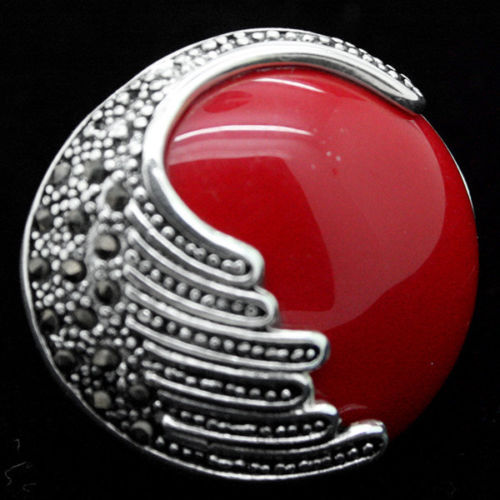 latest design lady's 25mm Red Coral 925 Sterling Silver Marcasite Ring Size 7/8/9/10