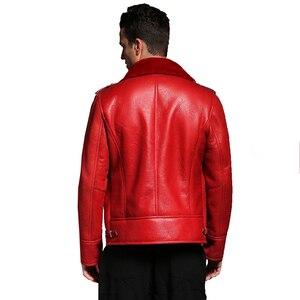 Image 3 - Qualität Dicken schaffell mantel lammfell pelz Männlichen Formal Red Lammfell Kleidung echtes lammfell mantel für männer Outwear