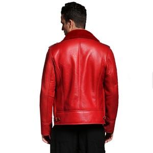 Image 3 - Quality Thick sheepskin coat shearling fur coat Male Formal Red Shearling Clothing genuine shearling coat for men Outwear