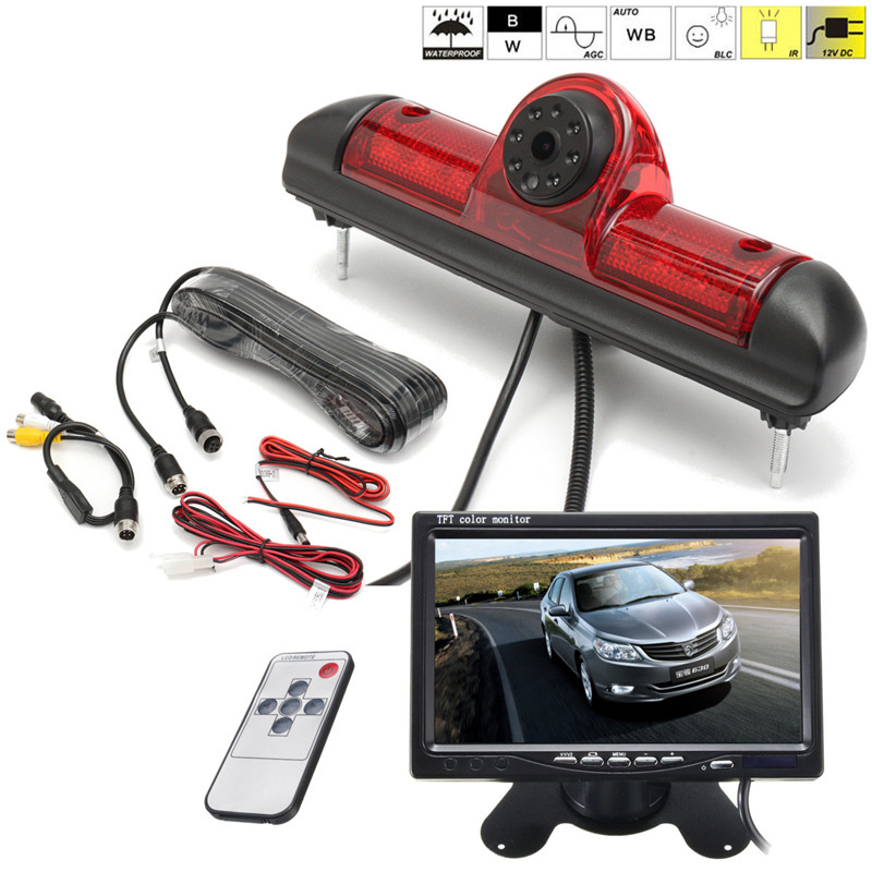 Car Brake Light Rear View Backup Camera For Fiat Ducato Built-in Led Light Night Vision+7 Inch LCD Car Reverse Monitor Mirror