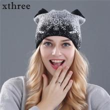 Xthree cute kitty winter hat for women Rabbit fur wool knitted hat beanies hat feminino hat