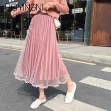 Beiyingni Женская кружевная сетчатая Лоскутная плиссированная юбка Однотонная юбка большого размера S-3XL подружки невесты Тюлевая юбка Женская Корейская тонкая